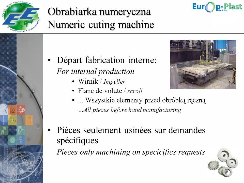 Obrabiarka numeryczna Numeric cuting machine Départ fabrication interne: For internal production Wirnik / Impeller Flanc de volute / scroll... Wszystk