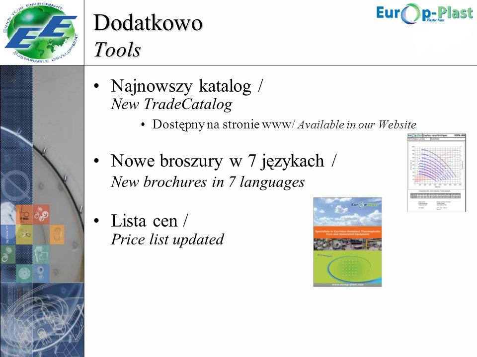 Dodatkowo Tools Najnowszy katalog / New TradeCatalog Dostępny na stronie www/ Available in our Website Nowe broszury w 7 językach / New brochures in 7