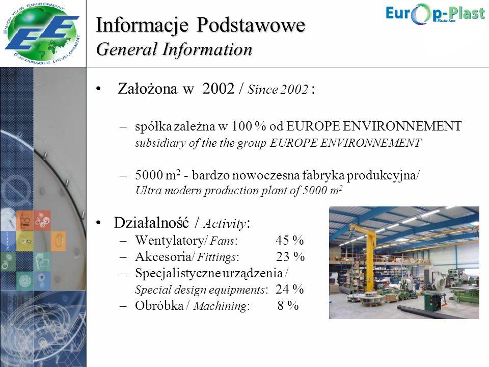 Informacje Podstawowe General Information Założona w 2002 / Since 2002 : –spółka zależna w 100 % od EUROPE ENVIRONNEMENT subsidiary of the the group E