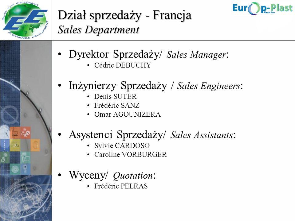 Dział sprzedaży - Francja Sales Department Dyrektor Sprzedaży/ Sales Manager : Cédric DEBUCHY Inżynierzy Sprzedaży / Sales Engineers : Denis SUTER Fré