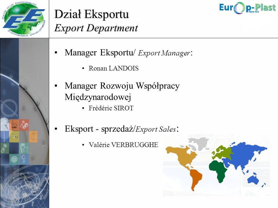 Dział Eksportu Export Department Manager Eksportu/ Export Manager : Ronan LANDOIS Manager Rozwoju Współpracy Międzynarodowej Frédéric SIROT Eksport -