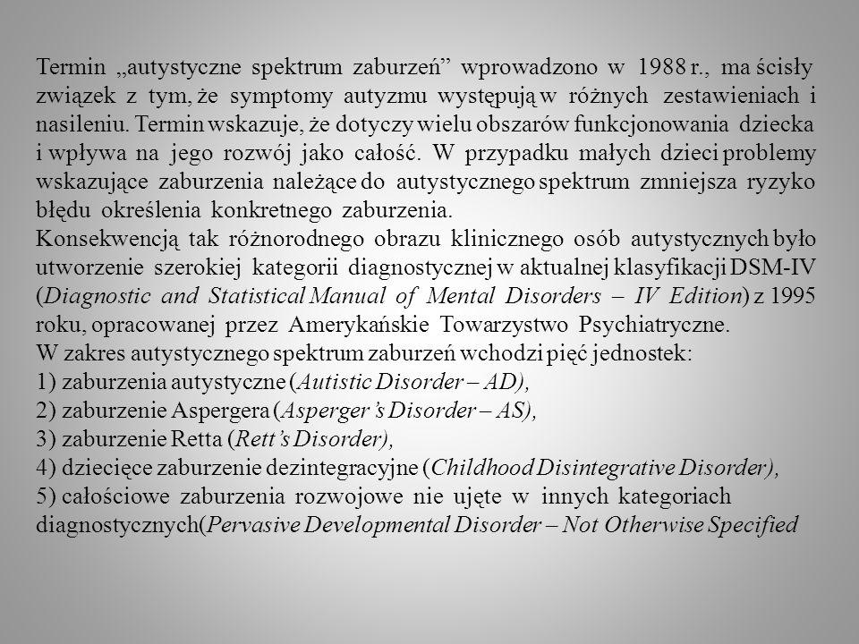 Termin autystyczne spektrum zaburzeń wprowadzono w 1988 r., ma ścisły związek z tym, że symptomy autyzmu występują w różnych zestawieniach i nasileniu