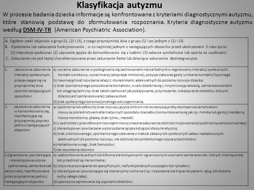 Klasyfikacja autyzmu W procesie badania dziecka informacje są konfrontowane z kryteriami diagnostycznymi autyzmu, które stanowią podstawę do sformułow