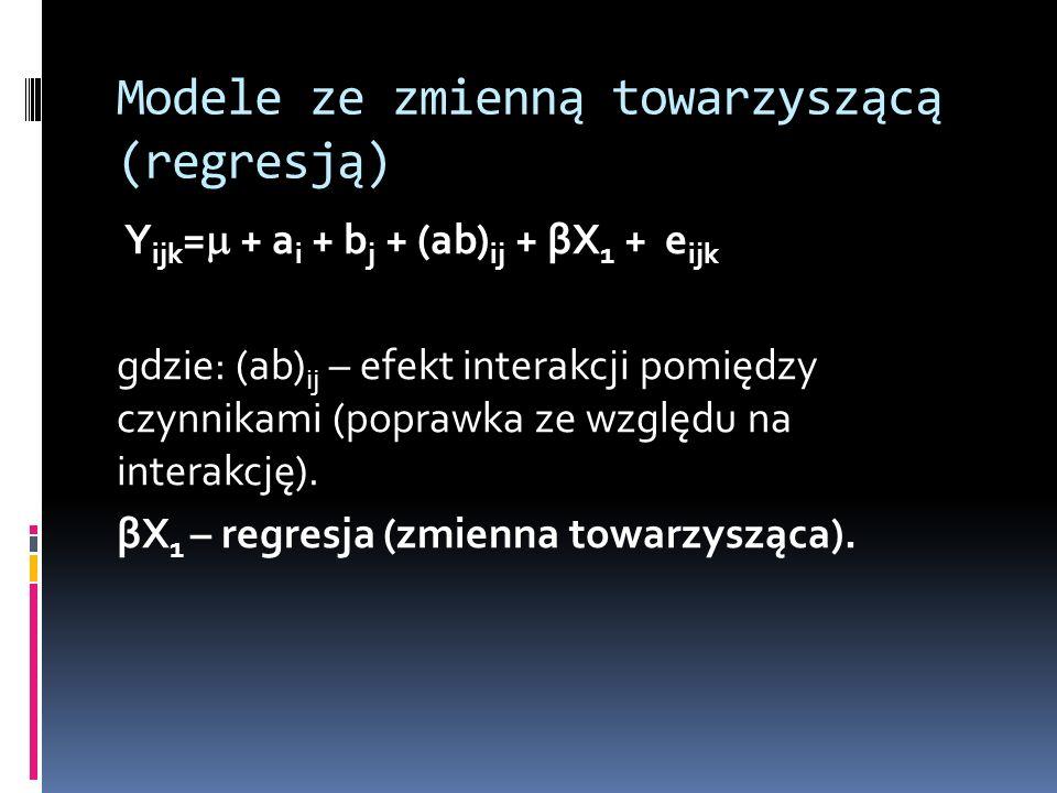 Modele ze zmienną towarzyszącą (regresją) Y ijk = + a i + b j + (ab) ij + βX 1 + e ijk gdzie: (ab) ij – efekt interakcji pomiędzy czynnikami (poprawka
