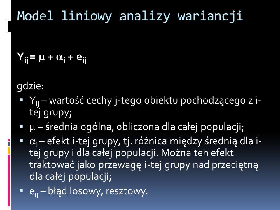 Model liniowy analizy wariancji Y ij = + i + e ij gdzie: Y ij – wartość cechy j-tego obiektu pochodzącego z i- tej grupy; – średnia ogólna, obliczona