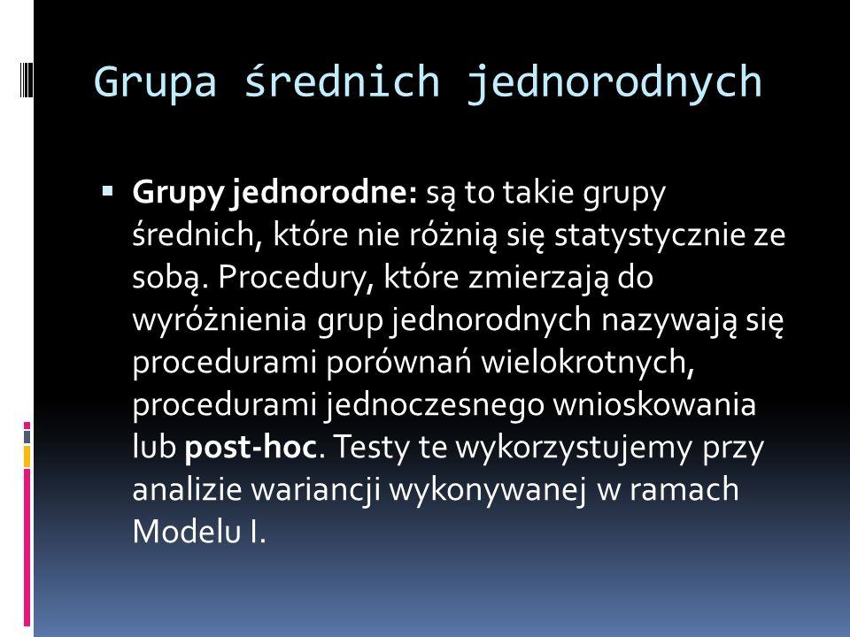 Grupa średnich jednorodnych Grupy jednorodne: są to takie grupy średnich, które nie różnią się statystycznie ze sobą. Procedury, które zmierzają do wy