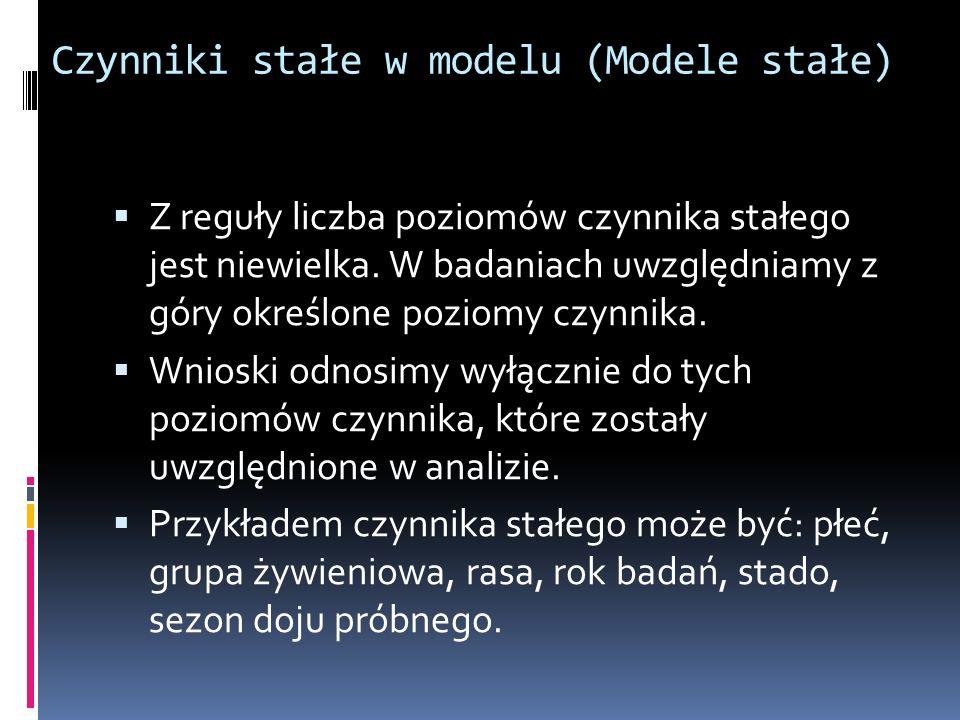 Czynniki stałe w modelu (Modele stałe) Z reguły liczba poziomów czynnika stałego jest niewielka. W badaniach uwzględniamy z góry określone poziomy czy