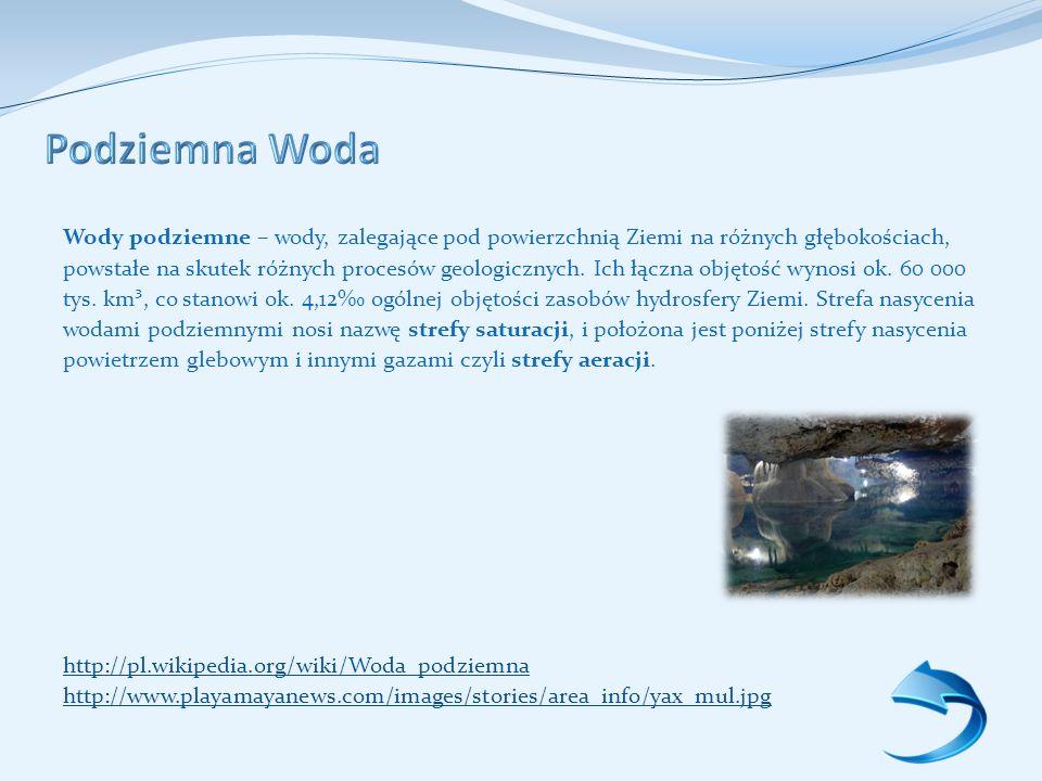 Wody podziemne – wody, zalegające pod powierzchnią Ziemi na różnych głębokościach, powstałe na skutek różnych procesów geologicznych.