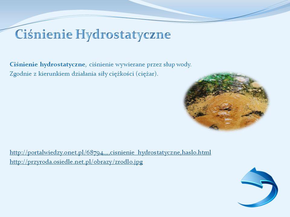 Ciśnienie hydrostatyczne, ciśnienie wywierane przez słup wody.