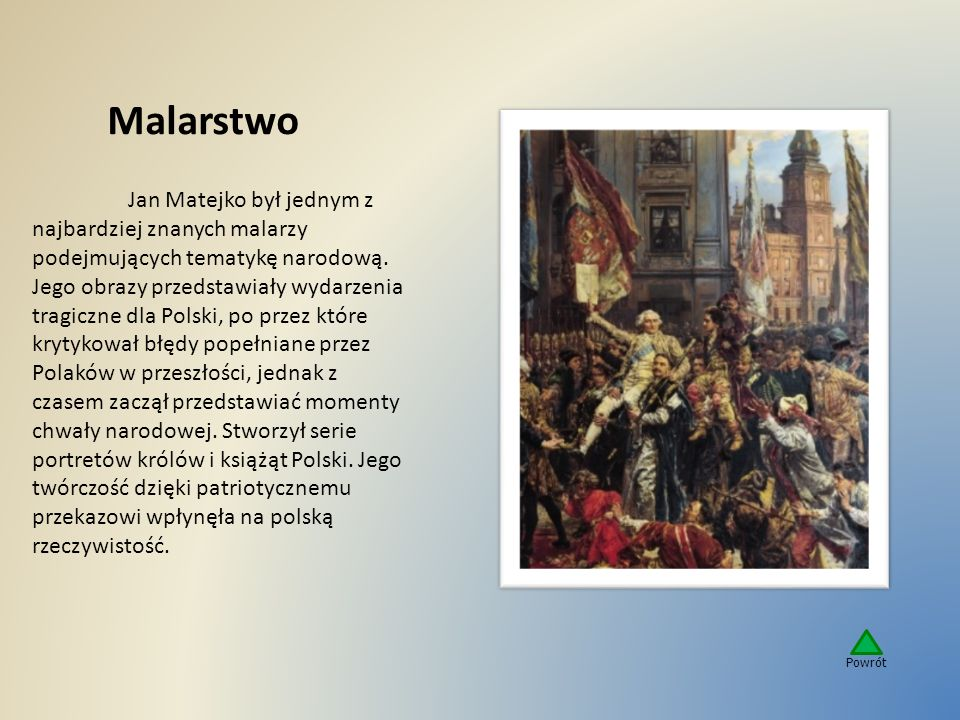 Malarstwo Jan Matejko był jednym z najbardziej znanych malarzy podejmujących tematykę narodową. Jego obrazy przedstawiały wydarzenia tragiczne dla Pol