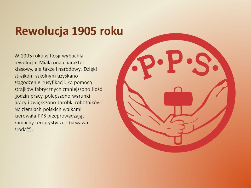 Rewolucja 1905 roku W 1905 roku w Rosji wybuchła rewolucja. Miała ona charakter klasowy, ale także i narodowy. Dzięki strajkom szkolnym uzyskano złago
