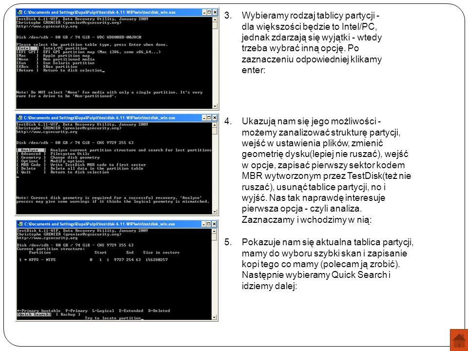 3.Wybieramy rodzaj tablicy partycji - dla większości będzie to Intel/PC, jednak zdarzają się wyjątki - wtedy trzeba wybrać inną opcję. Po zaznaczeniu