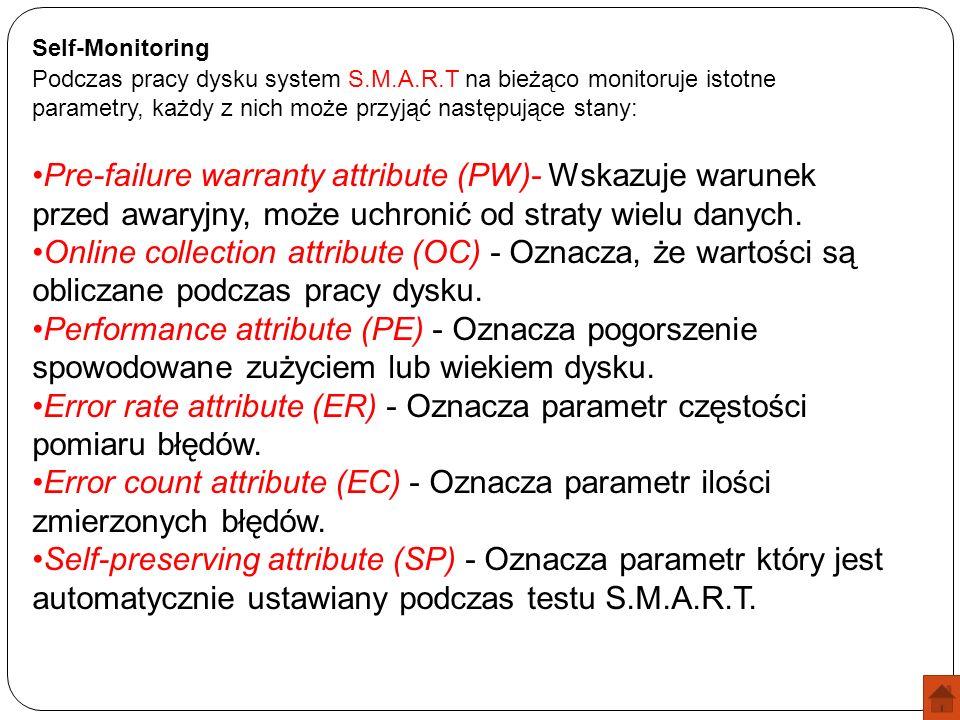 Self-Monitoring Podczas pracy dysku system S.M.A.R.T na bieżąco monitoruje istotne parametry, każdy z nich może przyjąć następujące stany: Pre-failure