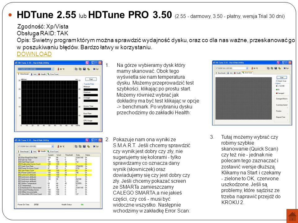 HDTune 2.55 lub HDTune PRO 3.50 (2.55 - darmowy, 3.50 - płatny, wersja Trial 30 dni) Zgodność: Xp/Vista Obsługa RAID: TAK Opis: Świetny program którym