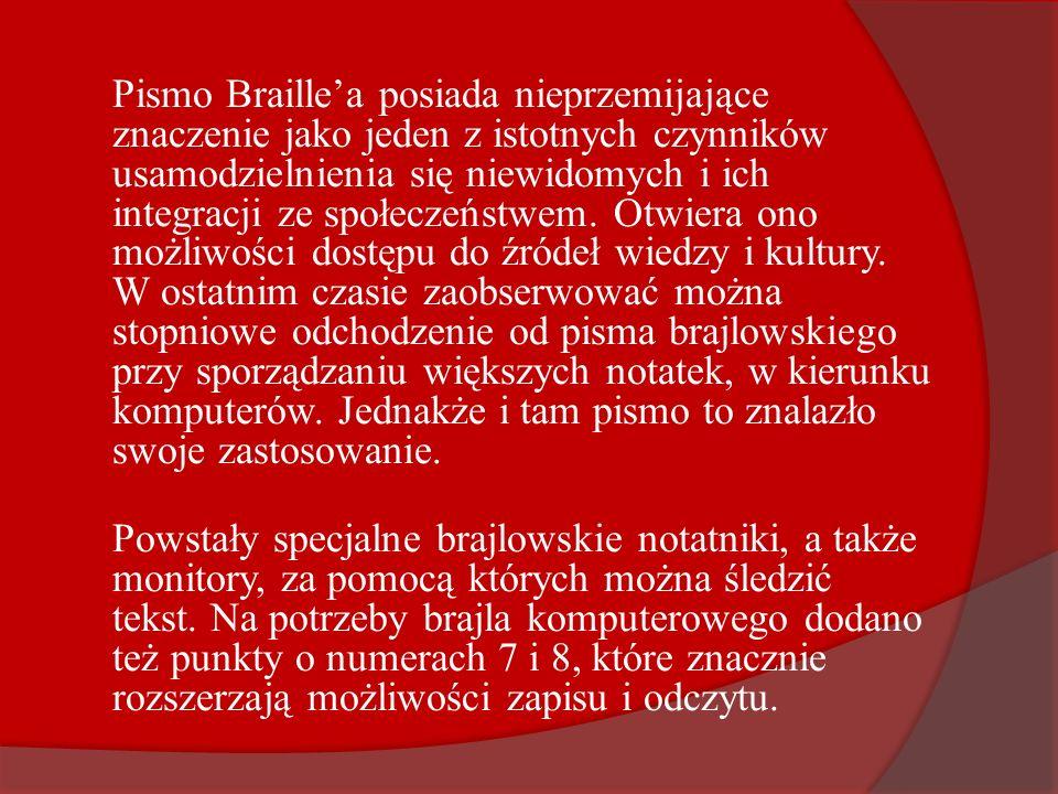 Pismo Braillea posiada nieprzemijające znaczenie jako jeden z istotnych czynników usamodzielnienia się niewidomych i ich integracji ze społeczeństwem.