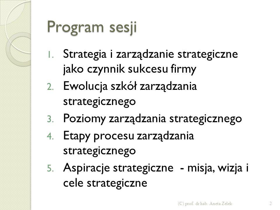Program sesji 1.Strategia i zarządzanie strategiczne jako czynnik sukcesu firmy 2.