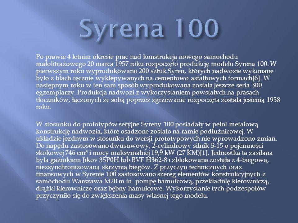 Po prawie 4 letnim okresie prac nad konstrukcją nowego samochodu małolitrażowego 20 marca 1957 roku rozpoczęto produkcję modelu Syrena 100.