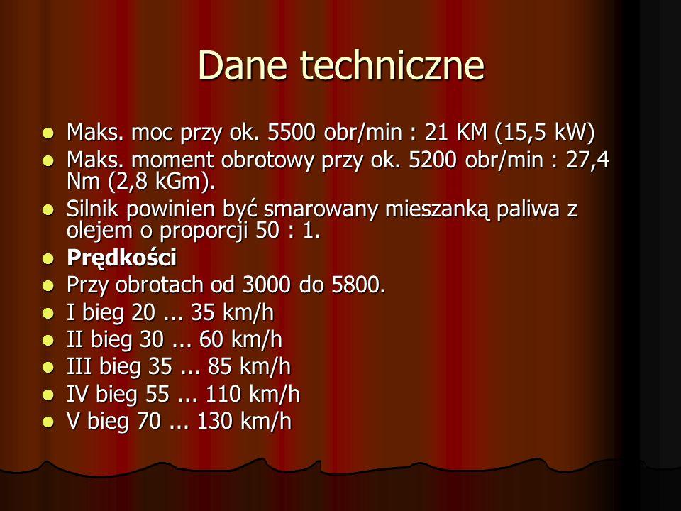 Dane techniczne Maks.moc przy ok. 5500 obr/min : 21 KM (15,5 kW) Maks.
