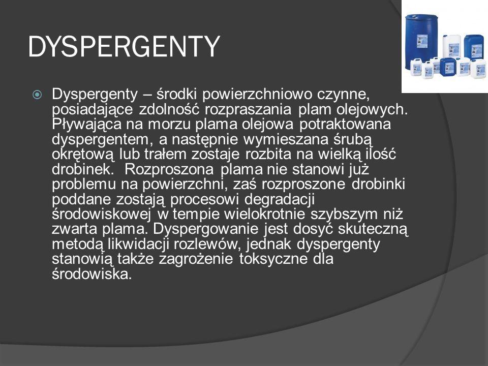 DYSPERGENTY Dyspergenty – środki powierzchniowo czynne, posiadające zdolność rozpraszania plam olejowych. Pływająca na morzu plama olejowa potraktowan