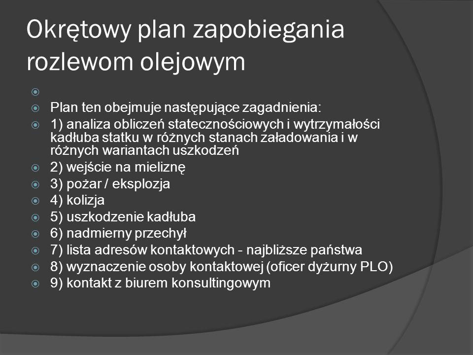 Okrętowy plan zapobiegania rozlewom olejowym Plan ten obejmuje następujące zagadnienia: 1) analiza obliczeń statecznościowych i wytrzymałości kadłuba
