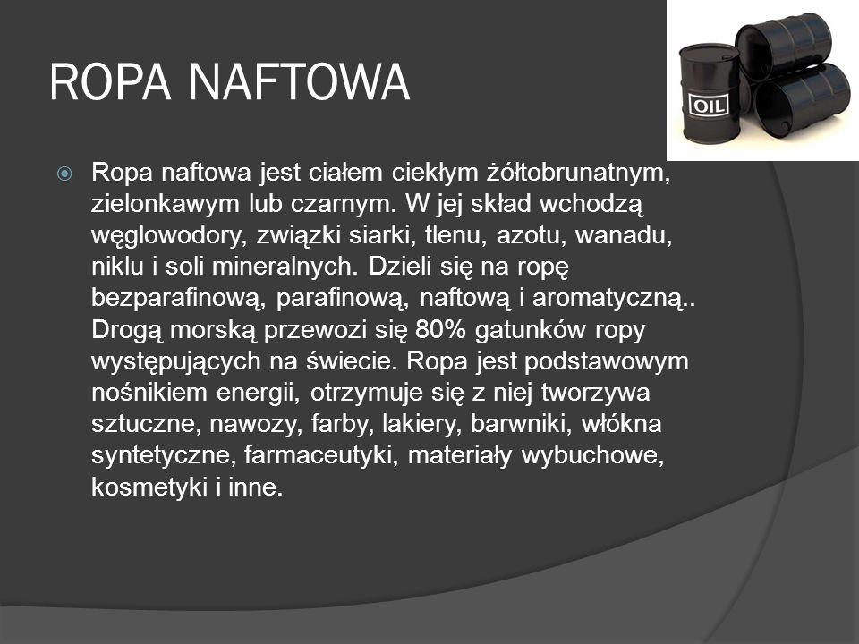 ROPA NAFTOWA Ropa naftowa jest ciałem ciekłym żółtobrunatnym, zielonkawym lub czarnym. W jej skład wchodzą węglowodory, związki siarki, tlenu, azotu,