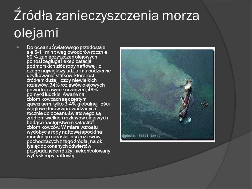 Źródła zanieczyszczenia morza olejami Do oceanu Światowego przedostaje się 5-11 mln t węglowodorów rocznie. 50 % zanieczyszczeń olejowych ponosi żeglu