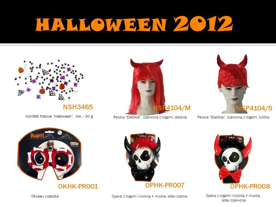 Peruka Diablica , czerwona z rogami, średniaPeruka Diablica , czerwona z rogami, krótka Okulary czaszka Opska z rogami i koroną + mucha, latex czarna Opska z rogami i koroną + mucha, latex czerwona NSH3465 NSP4104/M NSP4104/S OPHK-PR008 Konfetti foliowe Halloween , mix / 30 g OKHK-PR001 OPHK-PR007
