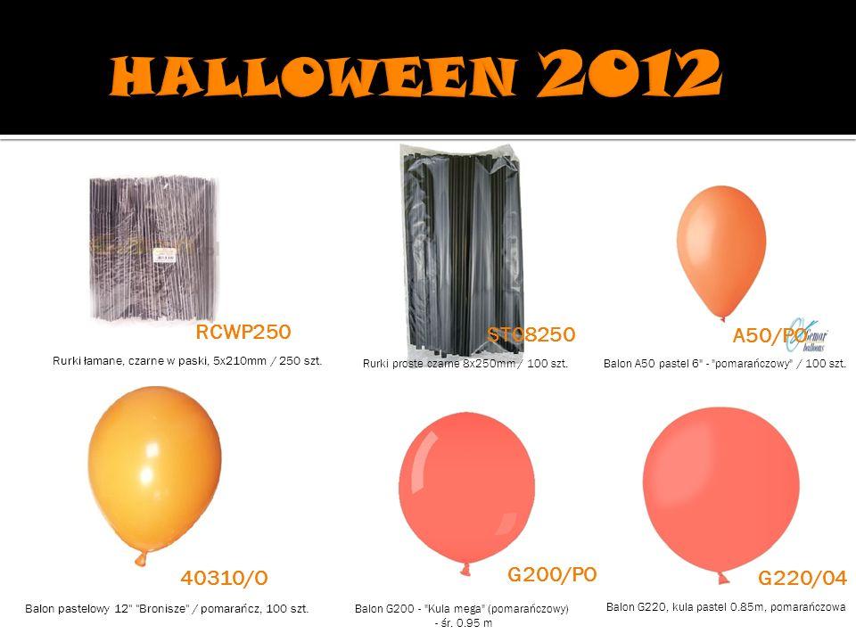 Rurki proste czarne 8x250mm / 100 szt.Balon A50 pastel 6 - pomarańczowy / 100 szt.
