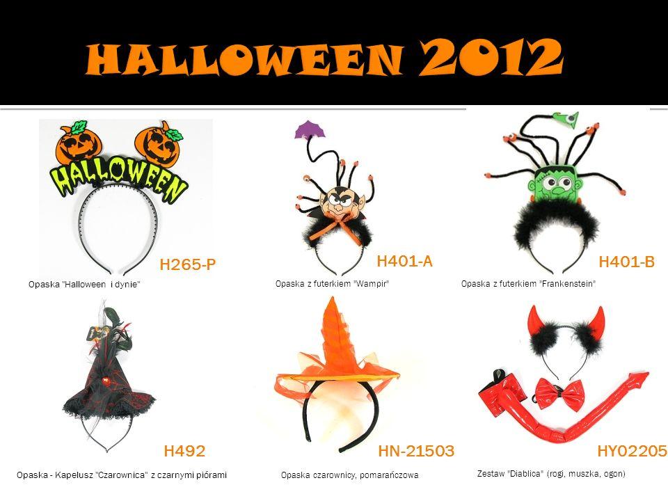 Opaska Halloween i dynie Opaska z futerkiem Wampir Opaska z futerkiem Frankenstein Opaska - Kapelusz Czarownica z czarnymi piórami Opaska czarownicy, pomarańczowa Zestaw Diablica (rogi, muszka, ogon) H265-P H401-A H401-B H492HN-21503 HY02205