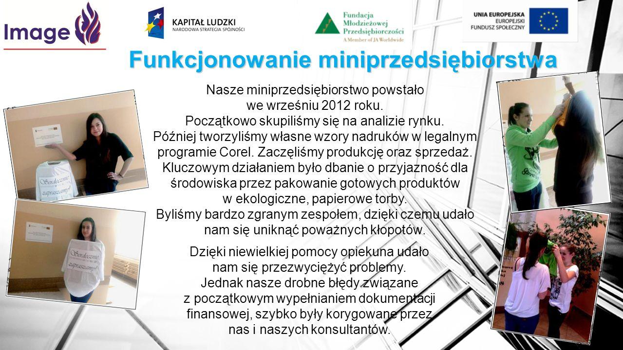 Funkcjonowanie miniprzedsiębiorstwa Nasze miniprzedsiębiorstwo powstało we wrześniu 2012 roku. Początkowo skupiliśmy się na analizie rynku. Później tw