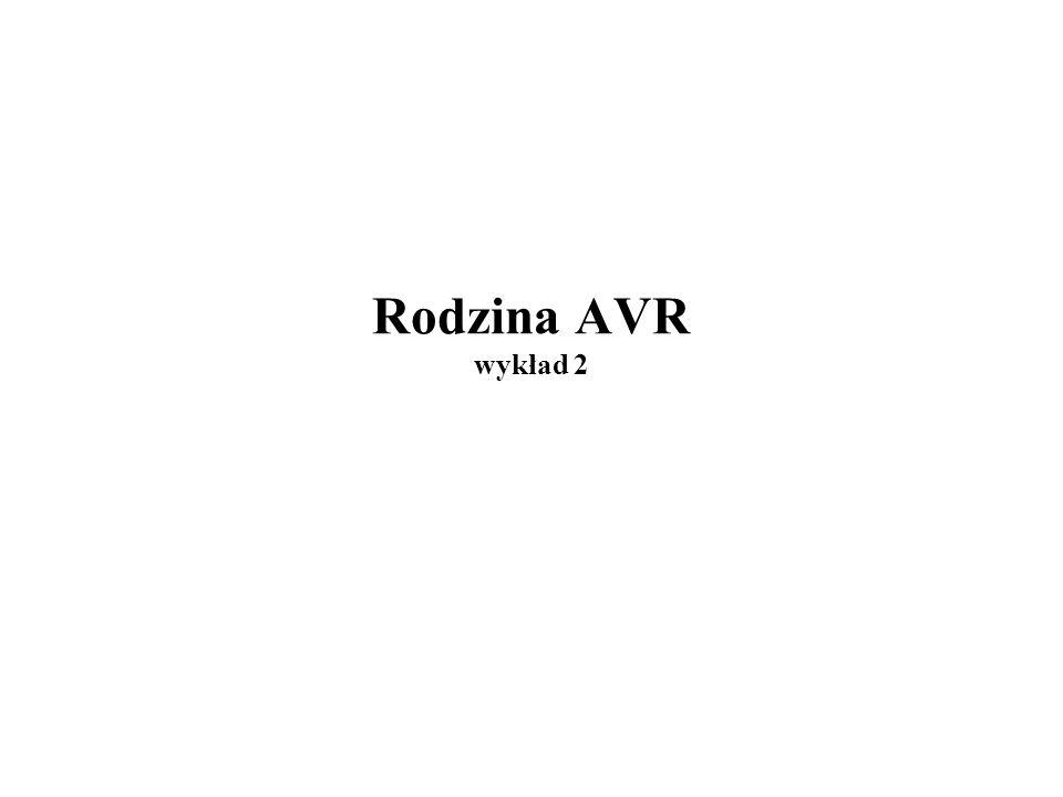 Lista rozkazów ATtiny2313/mega8515 12/27 LDrd,Z; rd:=RAM[Z] LDrd,Z+; rd:=RAM[Z] ; Z:=Z+1 LDrd,-Z; Z:=Z-1 ; rd:=RAM[Z] LDDrd,Z+d; rd:=RAM[Z+d]d=0..63 LDIrd,n; rd:=nrd=R16..R31n=0..255 LDSrd,adr; rd:=RAM[adr] LPM; R0:=ROM[Z] LPM rd,Z ; rd :=ROM[Z] LPM rd,Z+ ; rd :=ROM[Z], Z:=Z+1