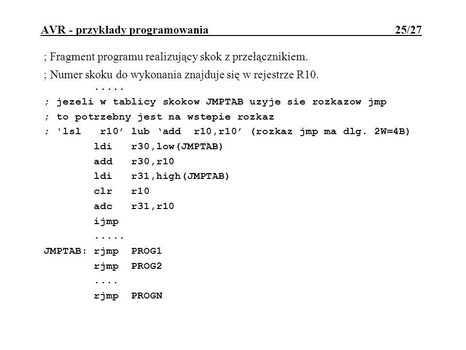 AVR - przykłady programowania 25/27 ; Fragment programu realizujący skok z przełącznikiem. ; Numer skoku do wykonania znajduje się w rejestrze R10....