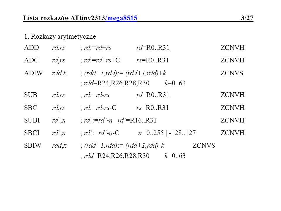 Lista rozkazów ATtiny2313/mega8515 14/27 STZ,rd; RAM[Z]:=rd STZ+,rd; RAM[Z]:=rd ; Z:=Z+1 ST-Z,rd; Z:=Z-1 ; RAM[Z]:=rd STDZ+d,rd; RAM[Z+d]:=rdd=0..63 STSadr,rd; RAM[adr]:=rd SPM; ROM[Z]:=R1:R0 POPrd; SP:=SP+1 ; rd:=RAM[SP] PUSHrd; RAM[SP]:=rd ; SP:=SP-1