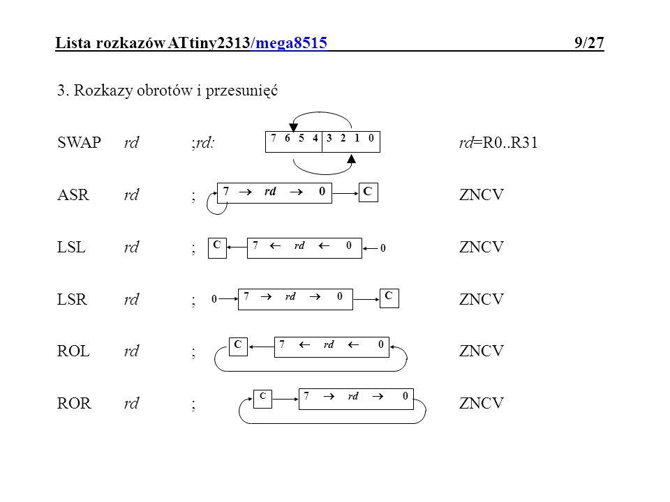 Lista rozkazów ATtiny2313/mega8515 9/27 3. Rozkazy obrotów i przesunięć SWAPrd;rd:rd=R0..R31 ASRrd; ZNCV LSLrd;ZNCV LSRrd;ZNCV ROLrd;ZNCV RORrd; ZNCV
