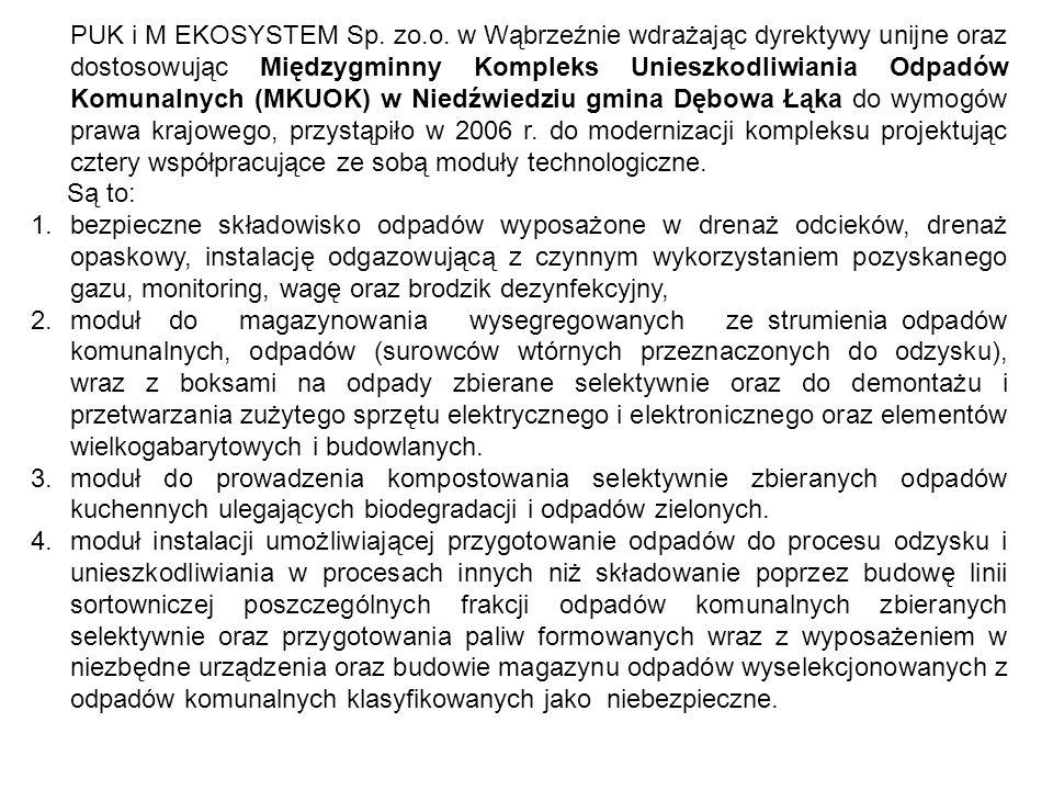 PUK i M EKOSYSTEM Sp. zo.o. w Wąbrzeźnie wdrażając dyrektywy unijne oraz dostosowując Międzygminny Kompleks Unieszkodliwiania Odpadów Komunalnych (MKU