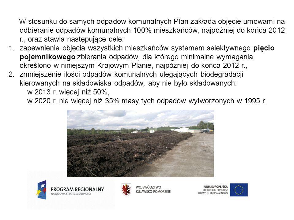 W stosunku do samych odpadów komunalnych Plan zakłada objęcie umowami na odbieranie odpadów komunalnych 100% mieszkańców, najpóźniej do końca 2012 r.,