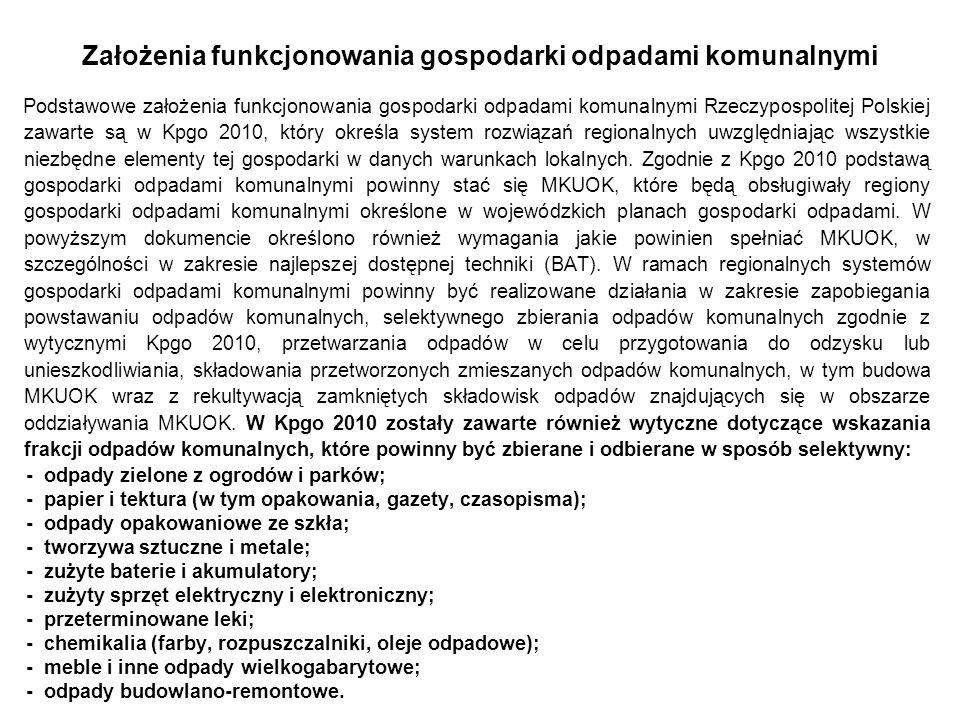 Założenia funkcjonowania gospodarki odpadami komunalnymi Podstawowe założenia funkcjonowania gospodarki odpadami komunalnymi Rzeczypospolitej Polskiej