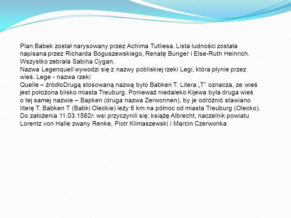 Plan Babek został narysowany przez Achima Tutliesa. Lista ludności została napisana przez Richarda Boguszewskiego, Renatę Bunger i Else-Ruth Heinrich.