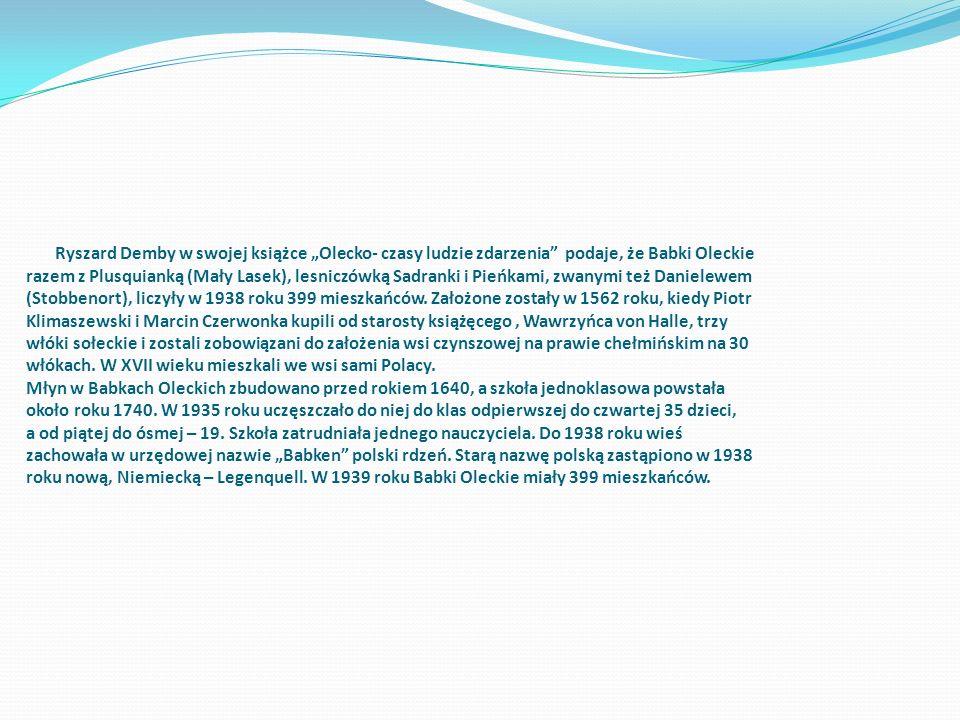 Ryszard Demby w swojej książce Olecko- czasy ludzie zdarzenia podaje, że Babki Oleckie razem z Plusquianką (Mały Lasek), lesniczówką Sadranki i Pieńka