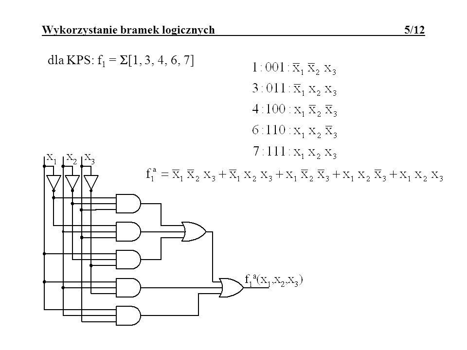 albo dla KPS: f 1 = [1, 3, 4, 6, 7] Wykorzystanie bramek logicznych 6/12