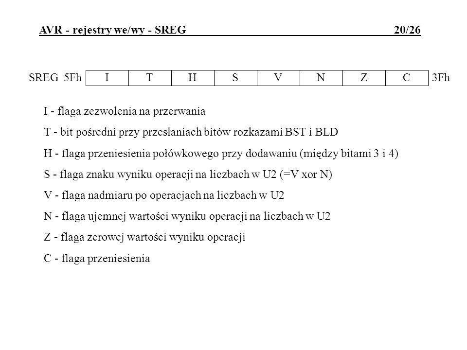 AVR - rejestry we/wy - SREG 20/26 I - flaga zezwolenia na przerwania T - bit pośredni przy przesłaniach bitów rozkazami BST i BLD H - flaga przeniesie