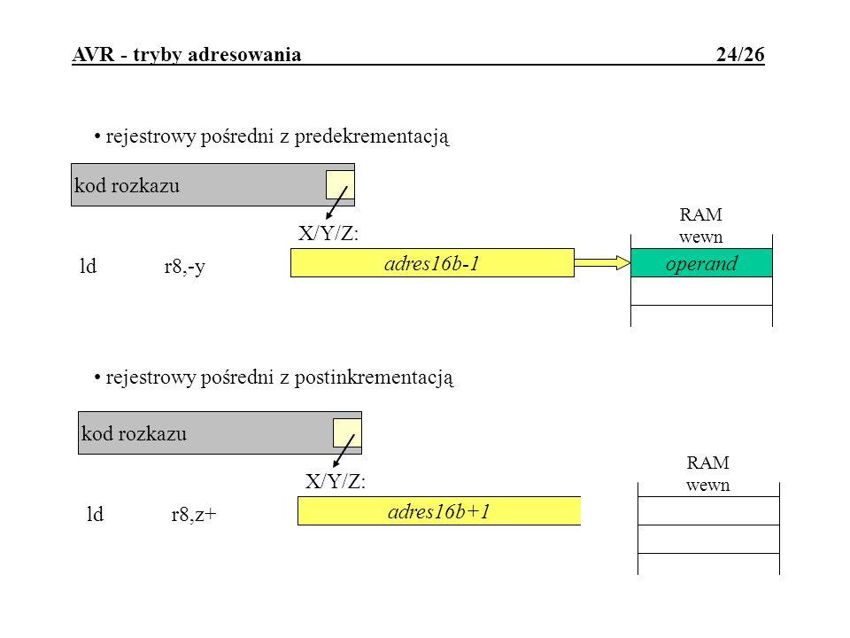 RAM wewn adres16b kod rozkazu X/Y/Z: ldr8,-y AVR - tryby adresowania 24/26 rejestrowy pośredni z predekrementacją operand rejestrowy pośredni z postin