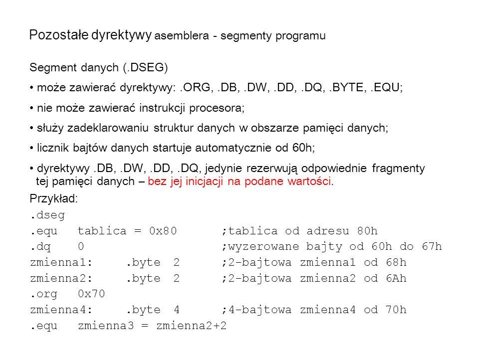 Segment danych (.DSEG) może zawierać dyrektywy:.ORG,.DB,.DW,.DD,.DQ,.BYTE,.EQU; nie może zawierać instrukcji procesora; służy zadeklarowaniu struktur