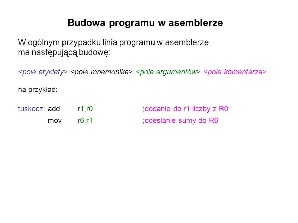 Budowa programu w asemblerze W ogólnym przypadku linia programu w asemblerze ma następującą budowę: na przykład: tuskocz:addr1,r0 ;dodanie do r1 liczb