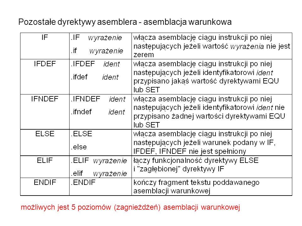 Pozostałe dyrektywy asemblera - asemblacja warunkowa możliwych jest 5 poziomów (zagnieżdżeń) asemblacji warunkowej