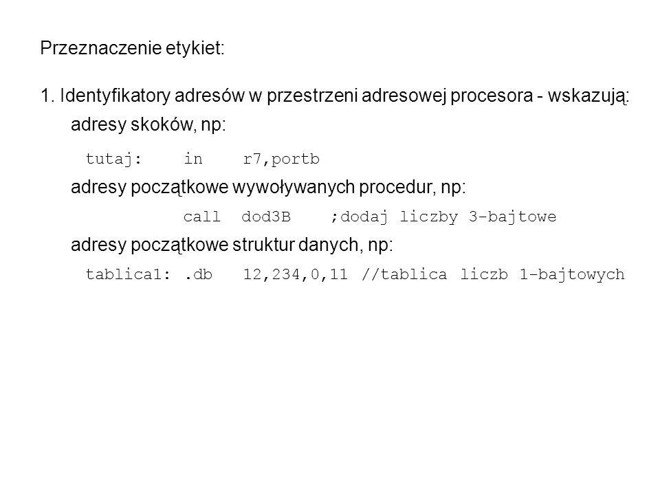 Segment danych (.DSEG) może zawierać dyrektywy:.ORG,.DB,.DW,.DD,.DQ,.BYTE,.EQU; nie może zawierać instrukcji procesora; służy zadeklarowaniu struktur danych w obszarze pamięci danych; licznik bajtów danych startuje automatycznie od 60h; dyrektywy.DB,.DW,.DD,.DQ, jedynie rezerwują odpowiednie fragmenty tej pamięci danych – bez jej inicjacji na podane wartości.