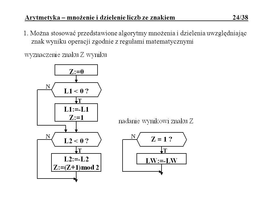 1. Można stosować przedstawione algorytmy mnożenia i dzielenia uwzględniając znak wyniku operacji zgodnie z regułami matematycznymi Arytmetyka – mnoże