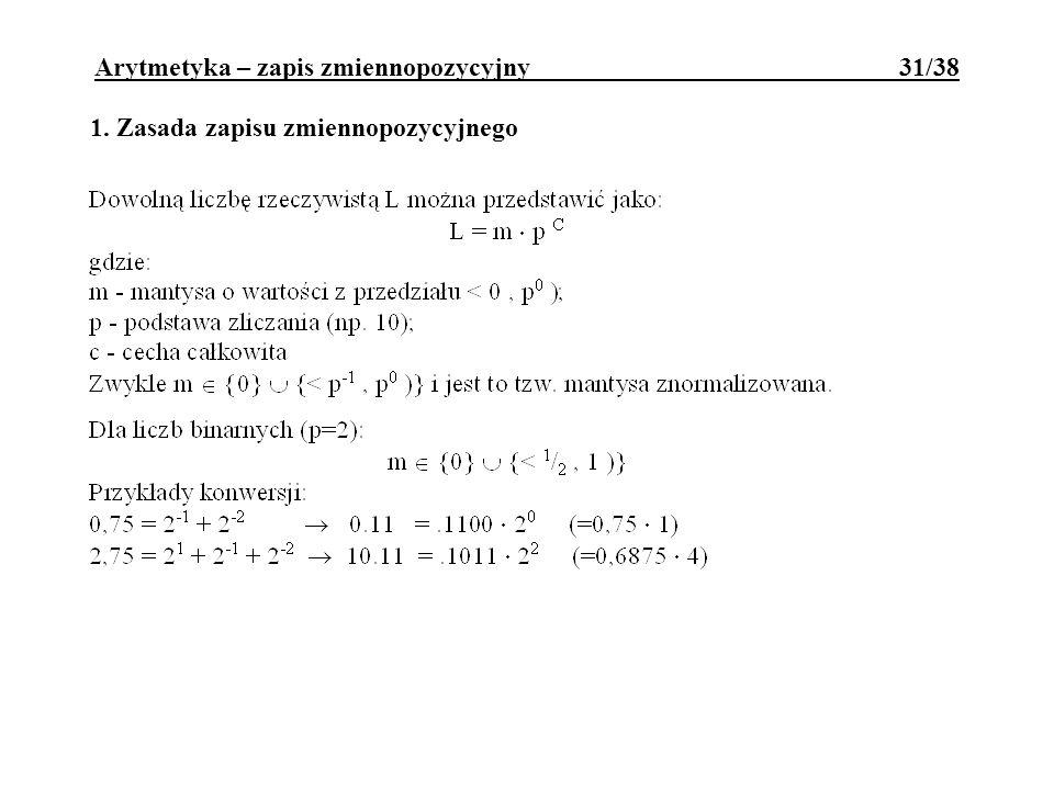 1. Zasada zapisu zmiennopozycyjnego Arytmetyka – zapis zmiennopozycyjny 31/38