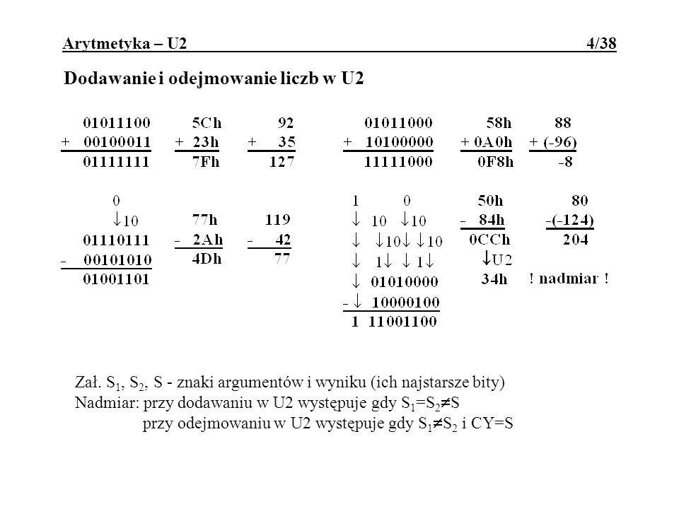 Dodawanie i odejmowanie liczb w U2 Zał. S 1, S 2, S - znaki argumentów i wyniku (ich najstarsze bity) Nadmiar: przy dodawaniu w U2 występuje gdy S 1 =