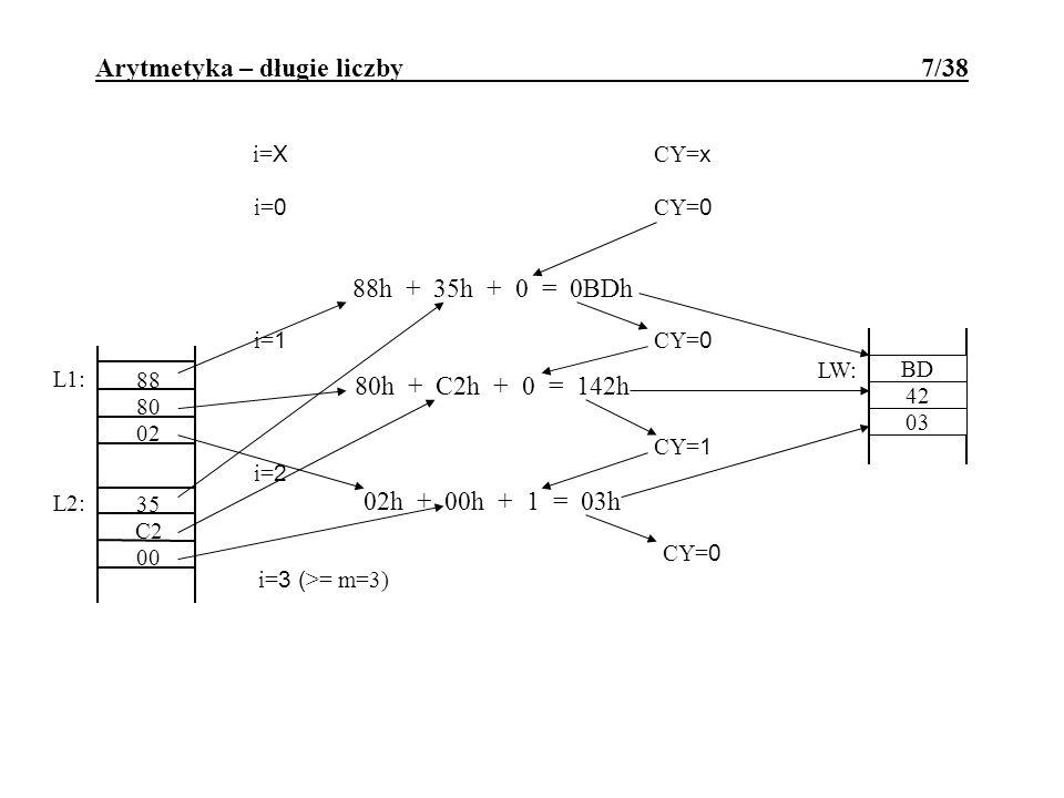 LW: X X X L1: 80 02 L2: 88 C2 00 35 i= X CY= x i= 0 CY= 0 88h + 35h + 0 = 0BDh BD CY= 0 i= 1 80h + C2h + 0 = 142h CY= 1 42 i= 2 02h + 00h + 1 = 03h 03
